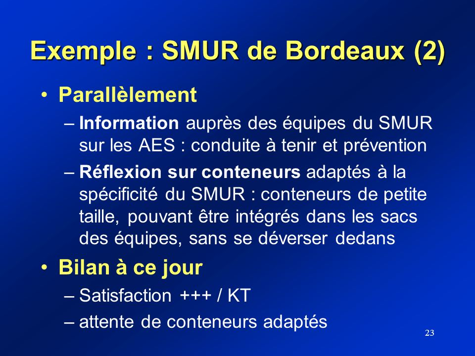 Exemple : SMUR de Bordeaux (2)