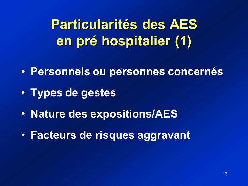 Particularités des AES en pré hospitalier (1)