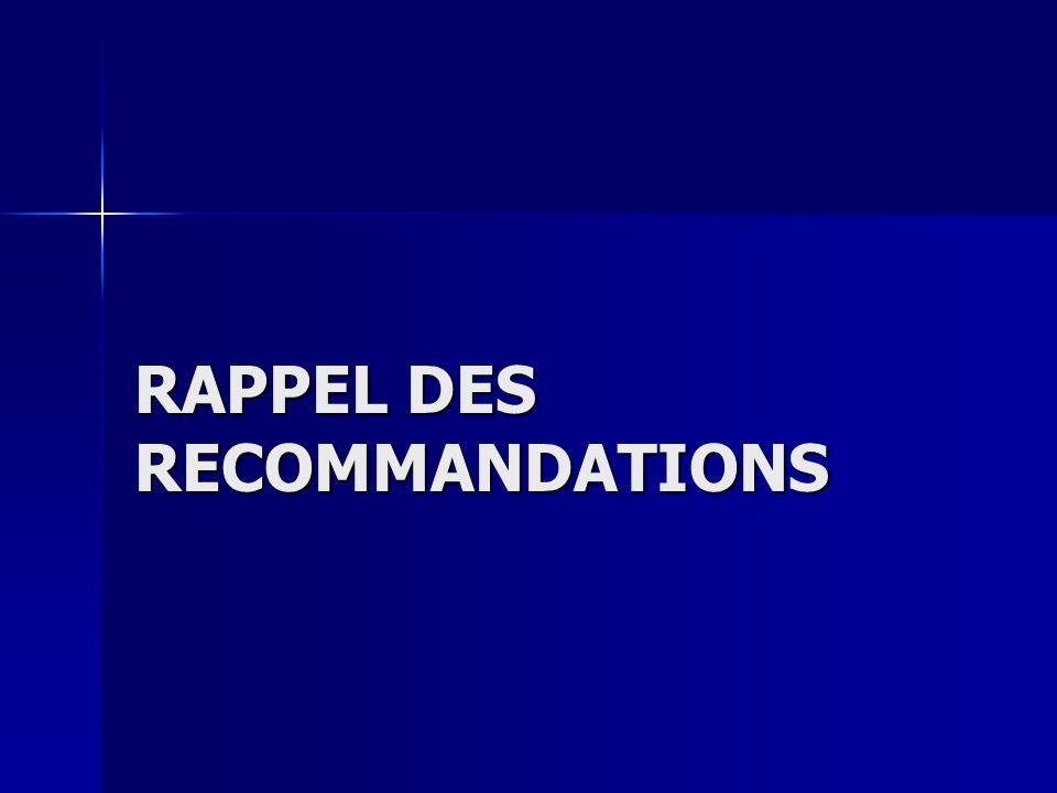 RAPPEL DES RECOMMANDATIONS