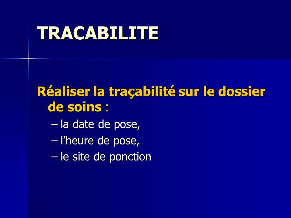 TRACABILITE Réaliser la traçabilité sur le dossier de soins :
