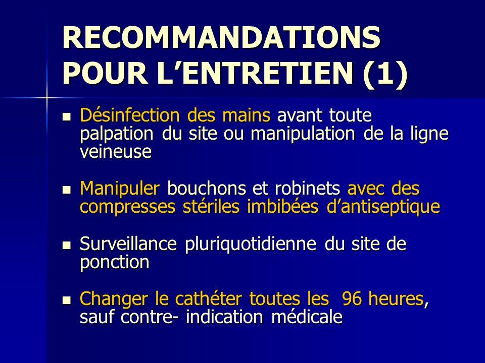 RECOMMANDATIONS POUR L'ENTRETIEN (1)
