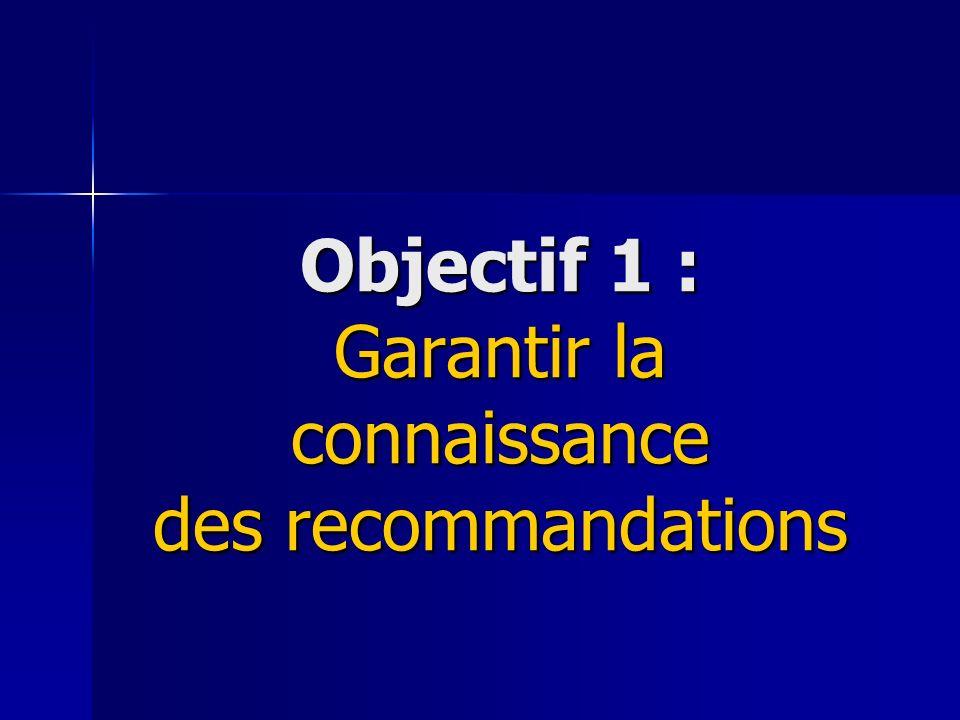 Objectif 1 : Garantir la connaissance des recommandations