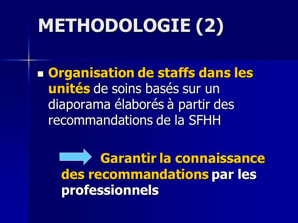 METHODOLOGIE (2) Organisation de staffs dans les unités de soins basés sur un diaporama élaborés à partir des recommandations de la SFHH.