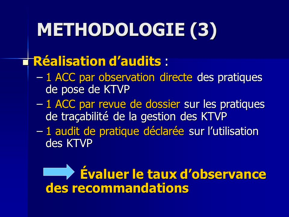 METHODOLOGIE (3) Réalisation d'audits :