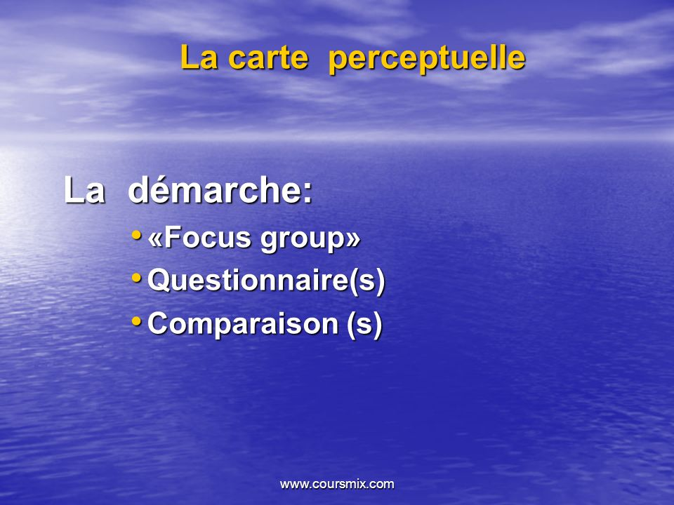La démarche: La carte perceptuelle «Focus group» Questionnaire(s)