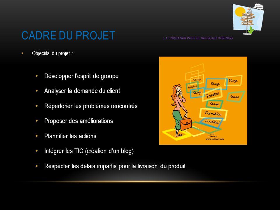 Cadre du projet La formation pour de nouveaux horizons