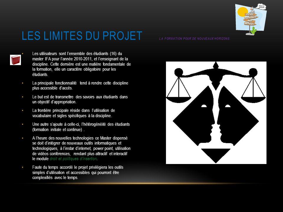 Les limites du projet La formation pour de nouveaux horizons
