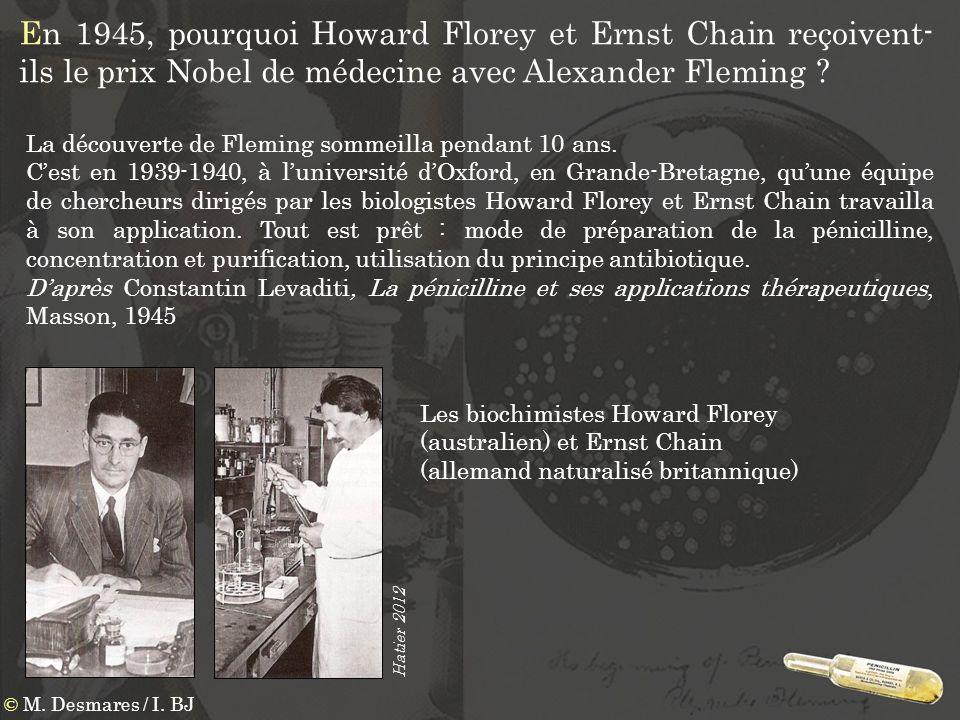 En 1945, pourquoi Howard Florey et Ernst Chain reçoivent-ils le prix Nobel de médecine avec Alexander Fleming