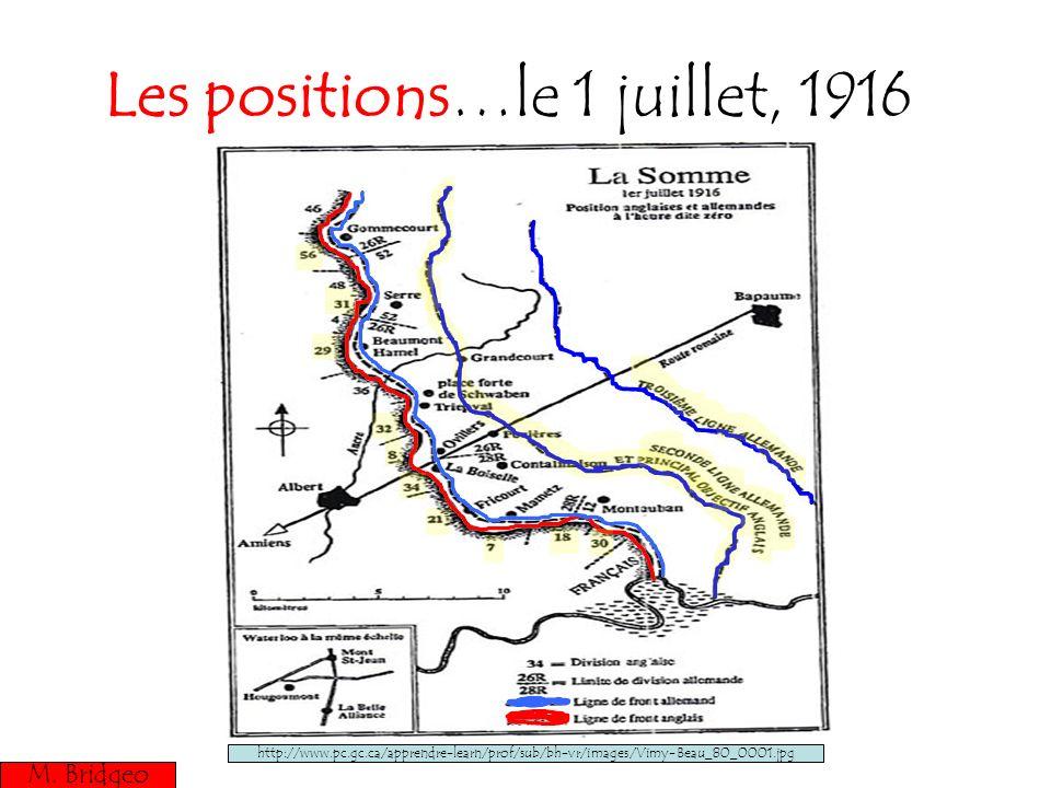 Les positions…le 1 juillet, 1916