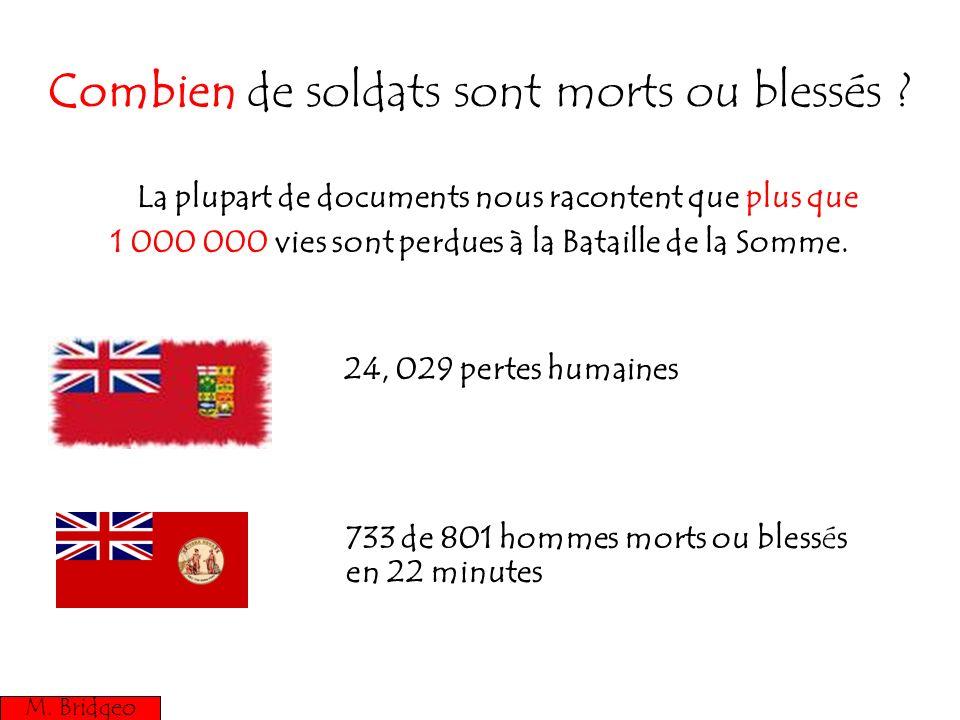 Combien de soldats sont morts ou blessés