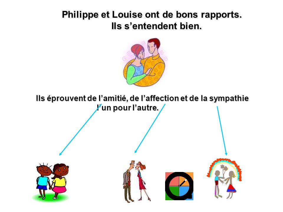 Philippe et Louise ont de bons rapports. Ils s'entendent bien.