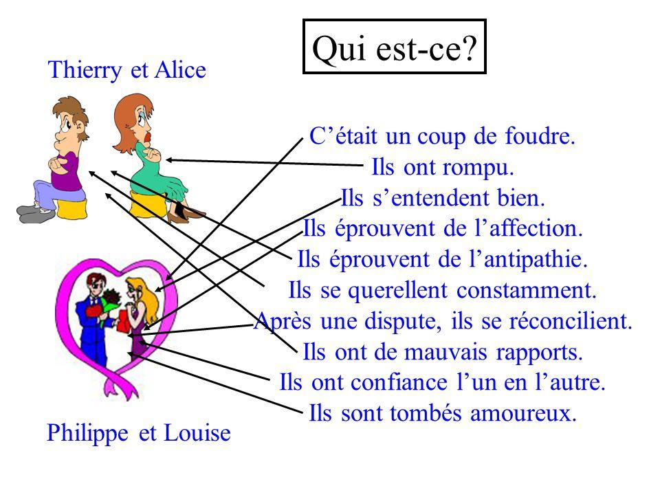 Qui est-ce Thierry et Alice C'était un coup de foudre. Ils ont rompu.