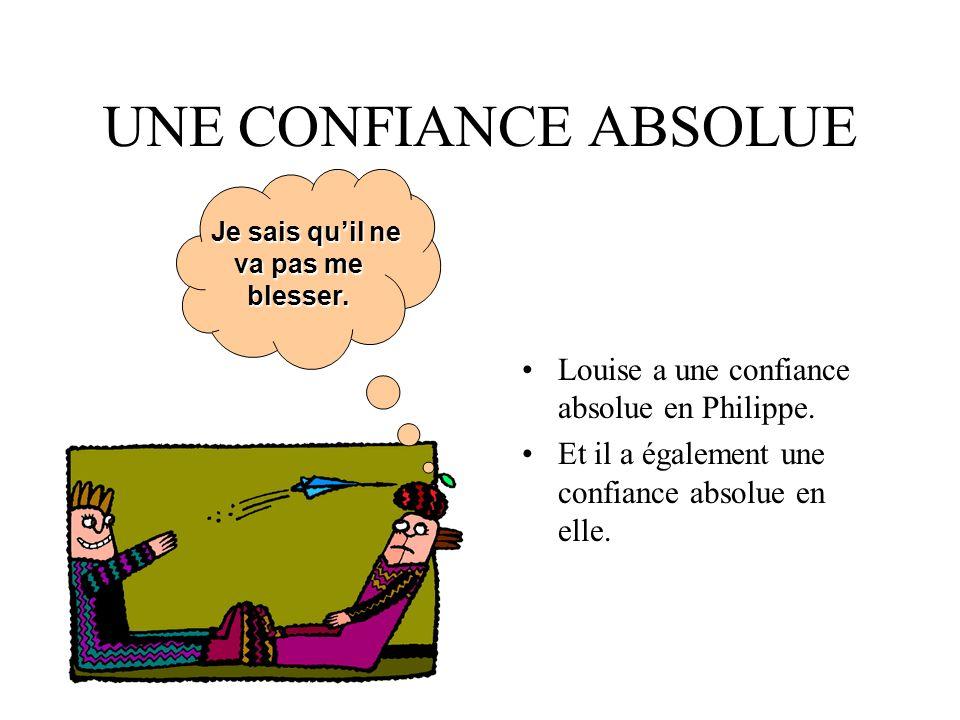 UNE CONFIANCE ABSOLUE Louise a une confiance absolue en Philippe.