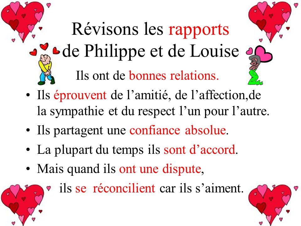 Révisons les rapports de Philippe et de Louise