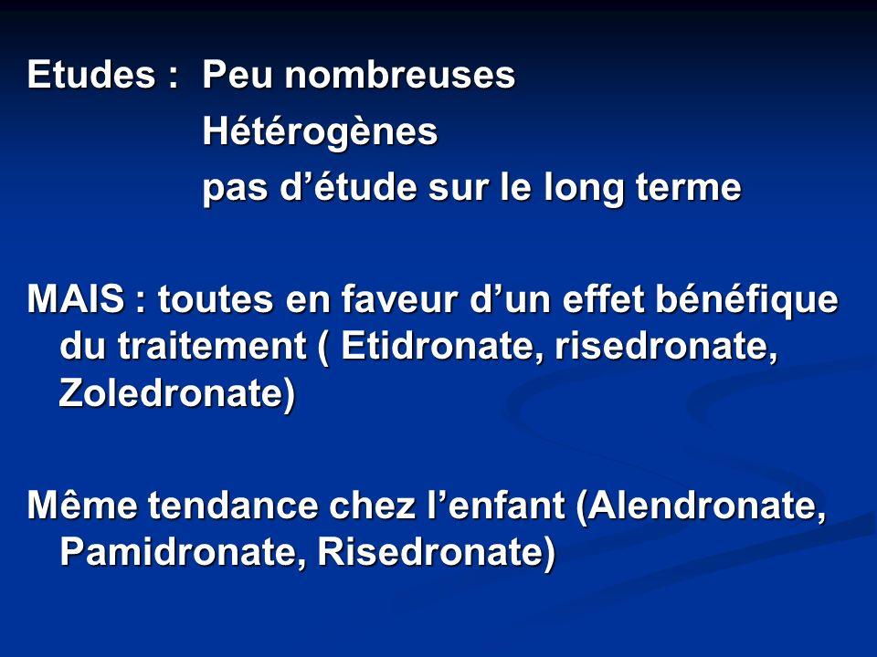 Etudes : Peu nombreuses Hétérogènes pas d'étude sur le long terme