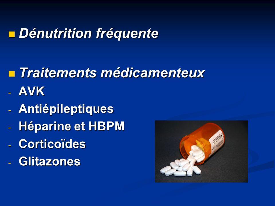 Dénutrition fréquente Traitements médicamenteux