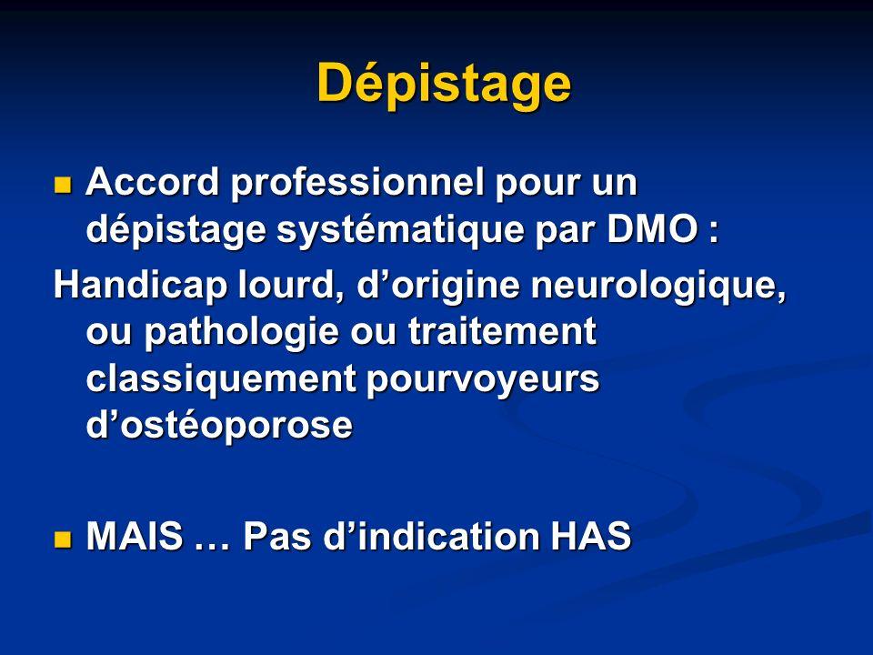 DépistageAccord professionnel pour un dépistage systématique par DMO :