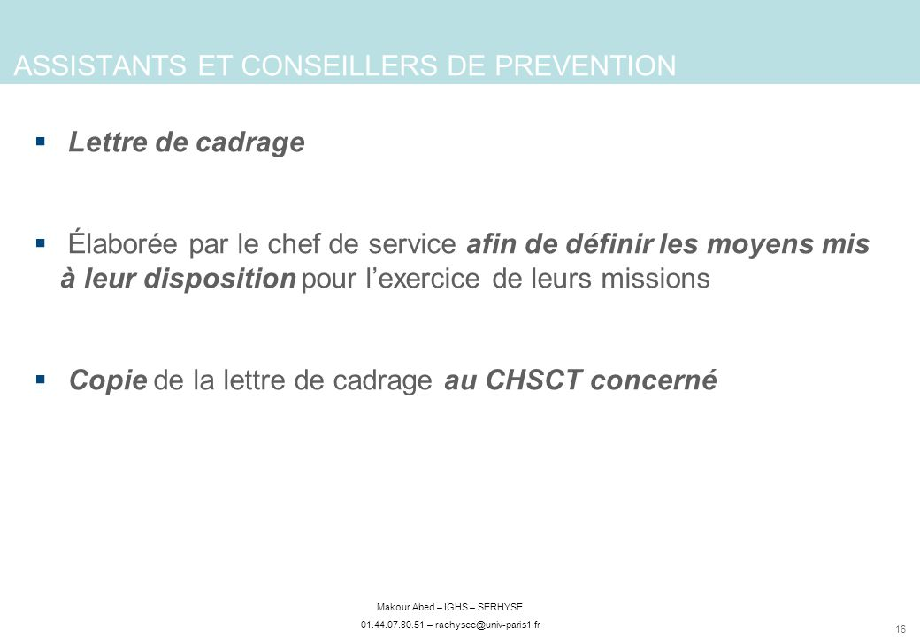 ASSISTANTS ET CONSEILLERS DE PREVENTION