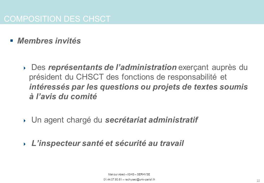 COMPOSITION DES CHSCT Membres invités.
