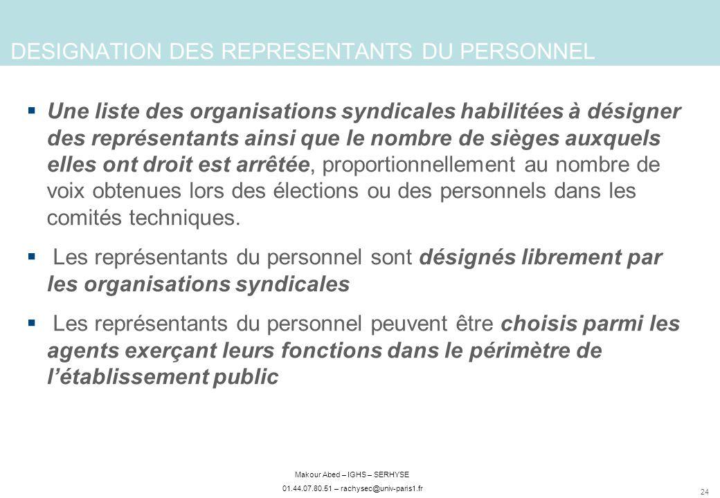 DESIGNATION DES REPRESENTANTS DU PERSONNEL