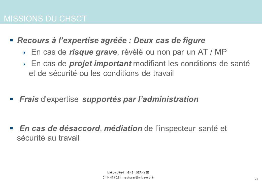 MISSIONS DU CHSCT Recours à l'expertise agréée : Deux cas de figure. En cas de risque grave, révélé ou non par un AT / MP.