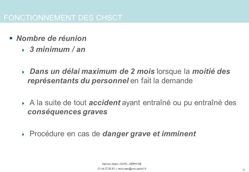 FONCTIONNEMENT DES CHSCT