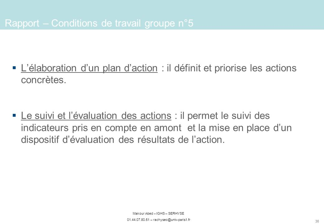 Rapport – Conditions de travail groupe n°5