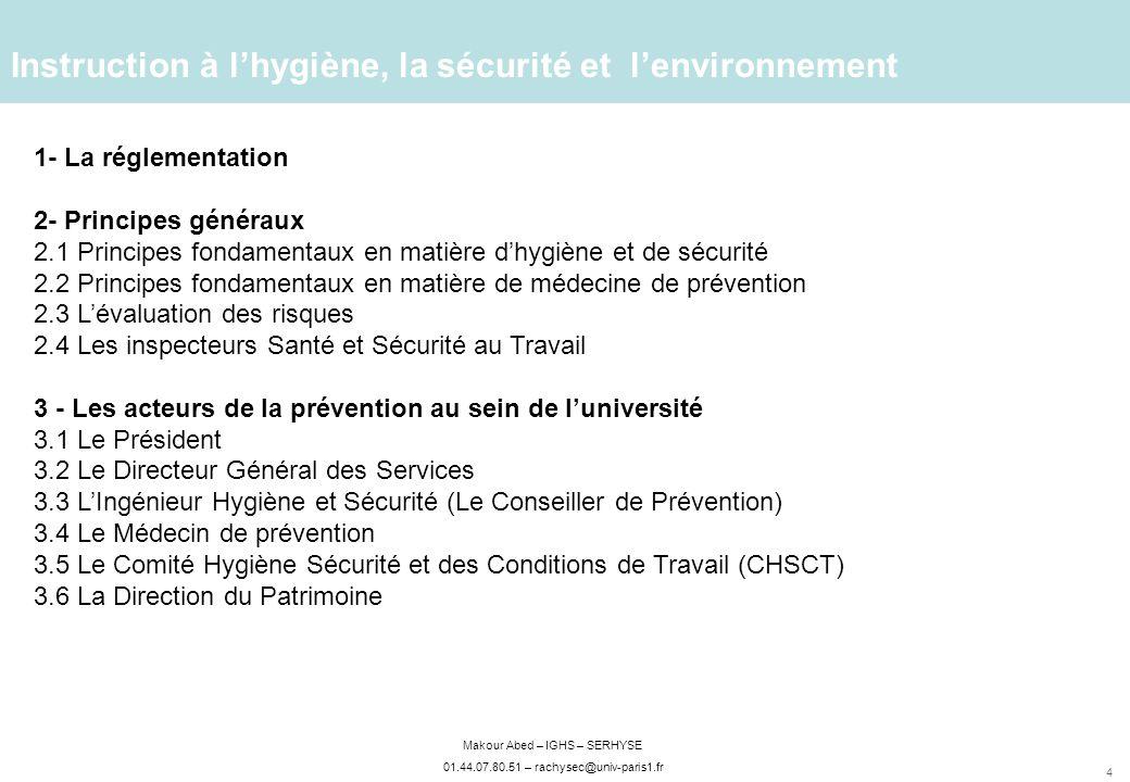 Instruction à l'hygiène, la sécurité et l'environnement