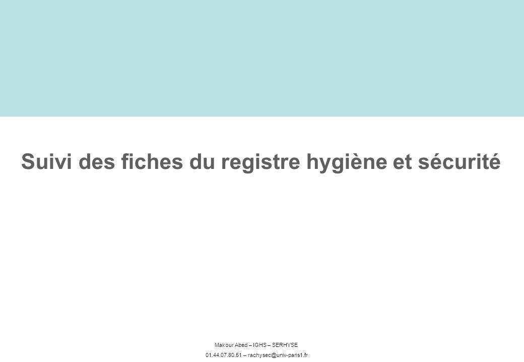 Suivi des fiches du registre hygiène et sécurité
