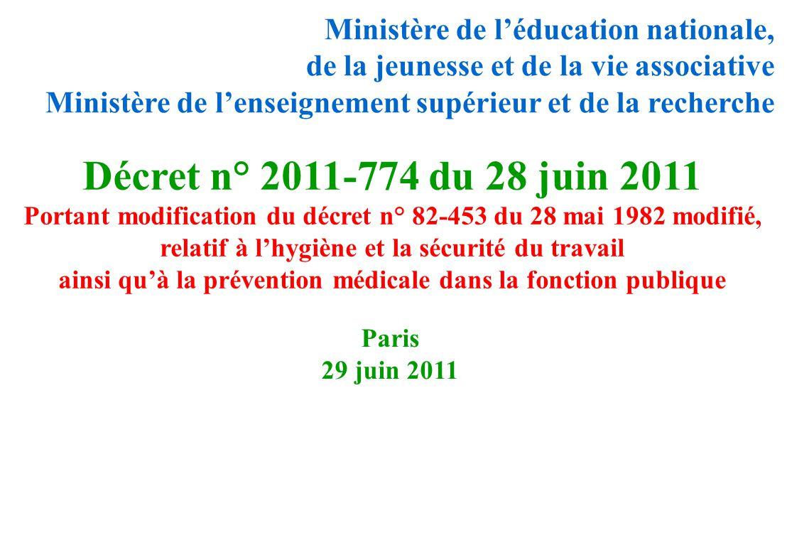 Décret n° 2011-774 du 28 juin 2011 Ministère de l'éducation nationale,