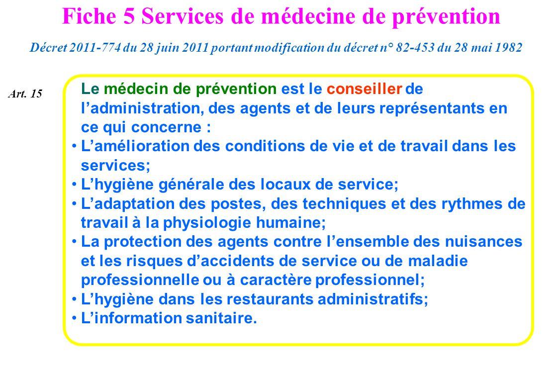 Fiche 5 Services de médecine de prévention