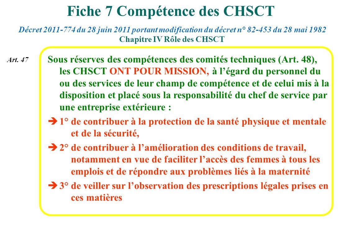 Fiche 7 Compétence des CHSCT