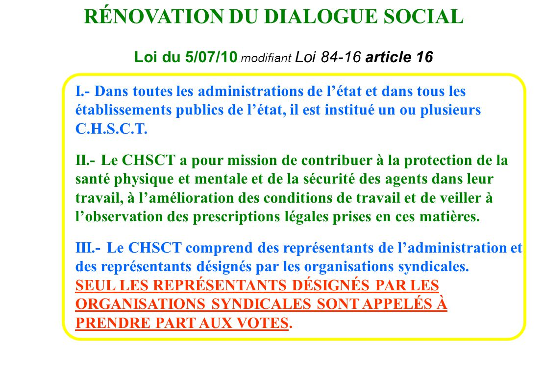 RÉNOVATION DU DIALOGUE SOCIAL