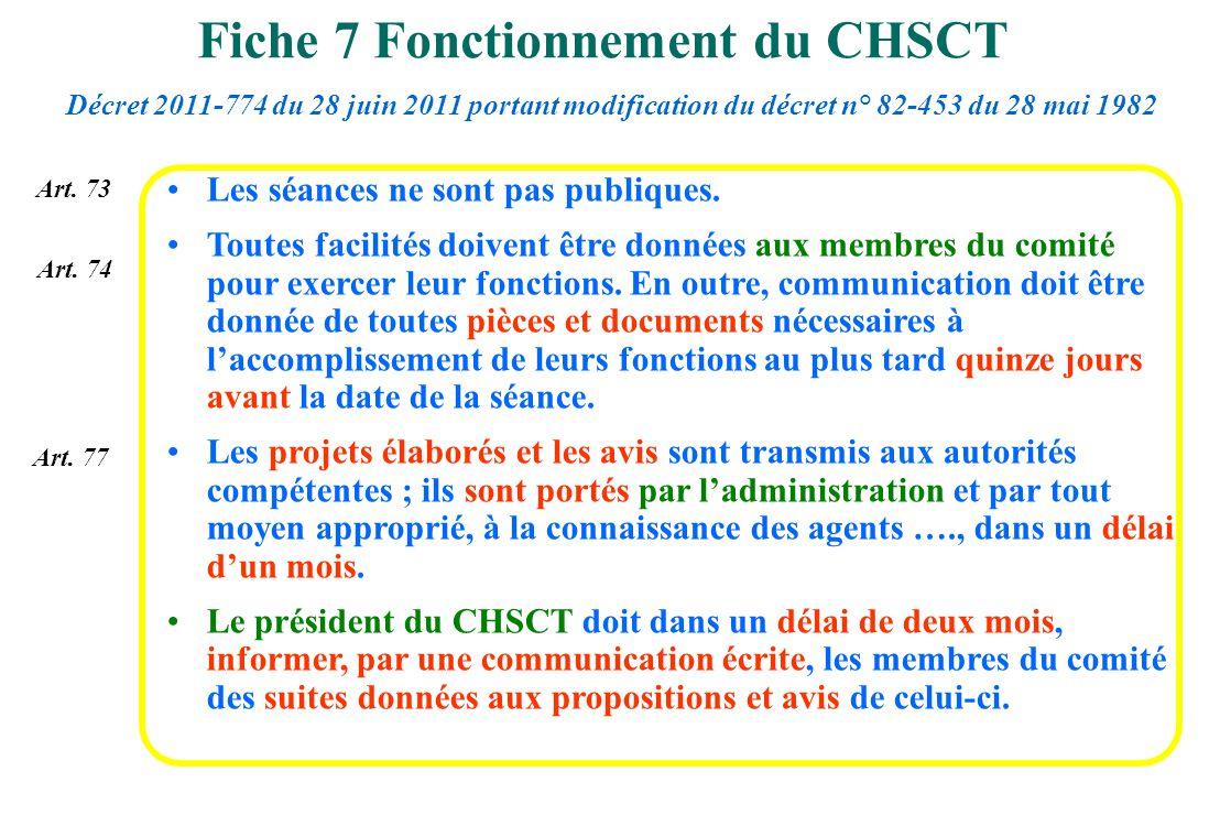 Fiche 7 Fonctionnement du CHSCT