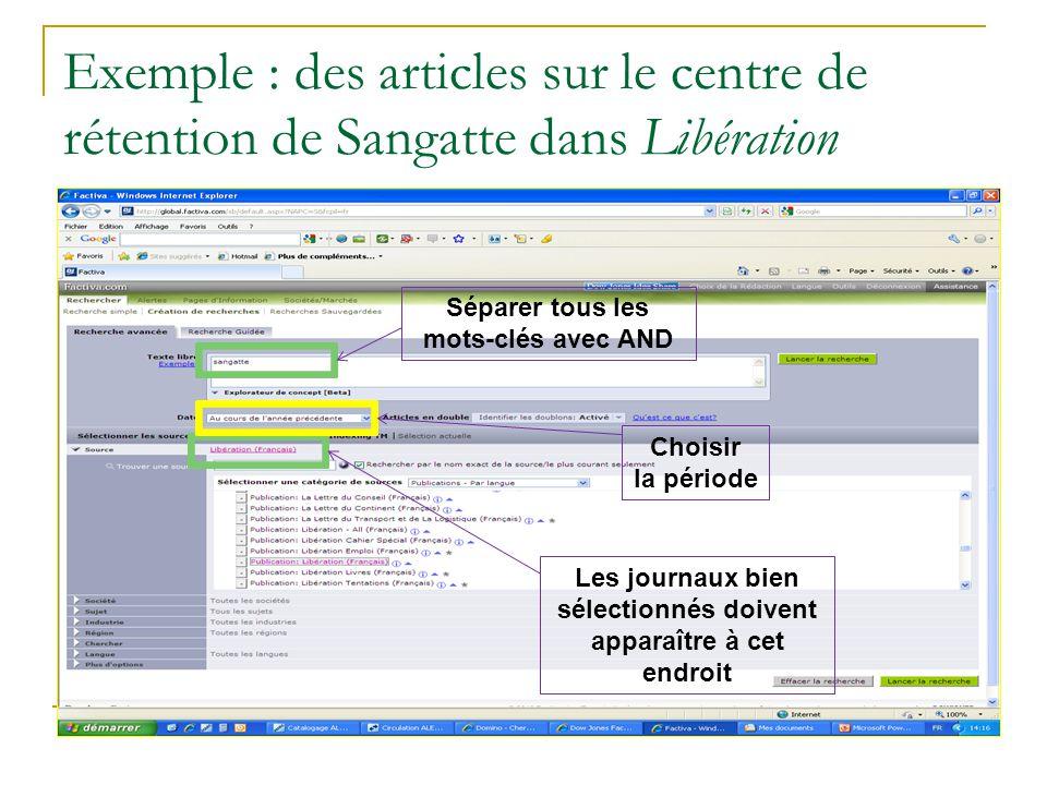 Exemple : des articles sur le centre de rétention de Sangatte dans Libération
