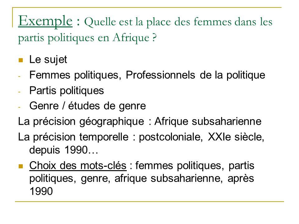 Exemple : Quelle est la place des femmes dans les partis politiques en Afrique