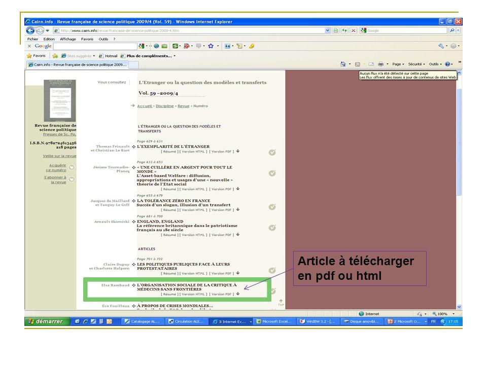 Article à télécharger en pdf ou html