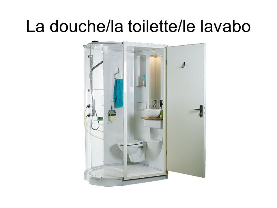 La douche/la toilette/le lavabo