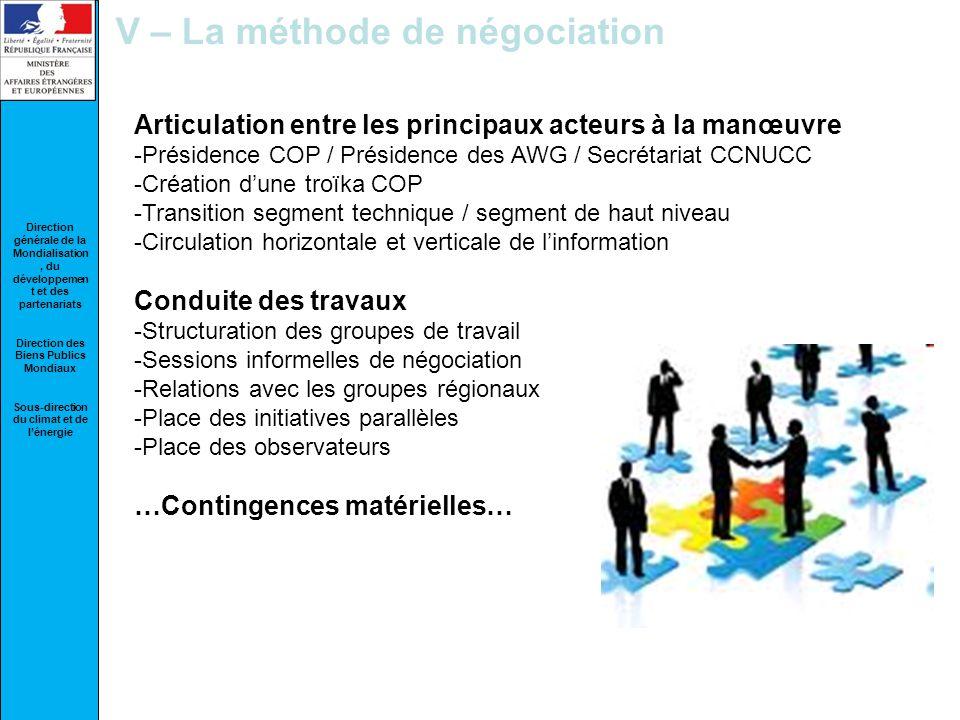 V – La méthode de négociation
