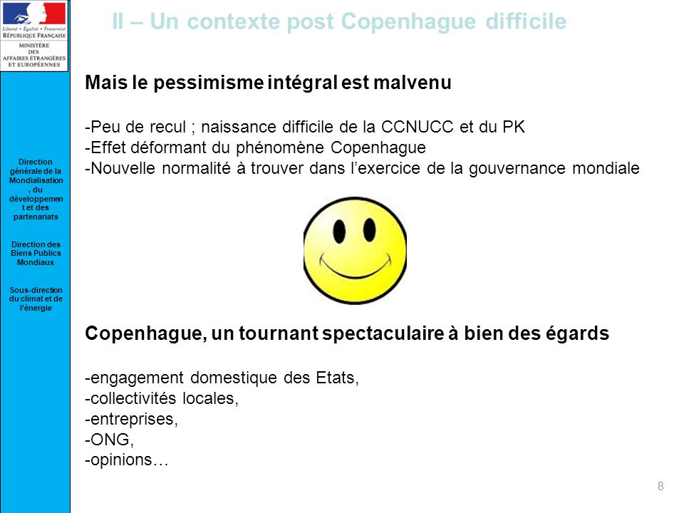II – Un contexte post Copenhague difficile