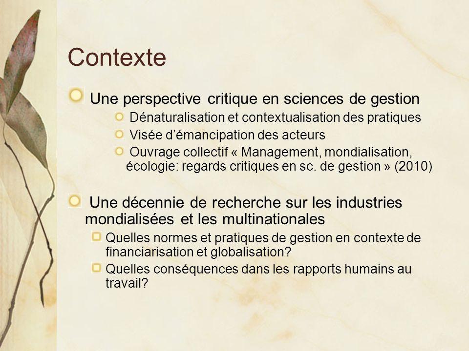 Contexte Une perspective critique en sciences de gestion