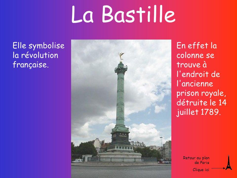 La Bastille Elle symbolise la révolution française.