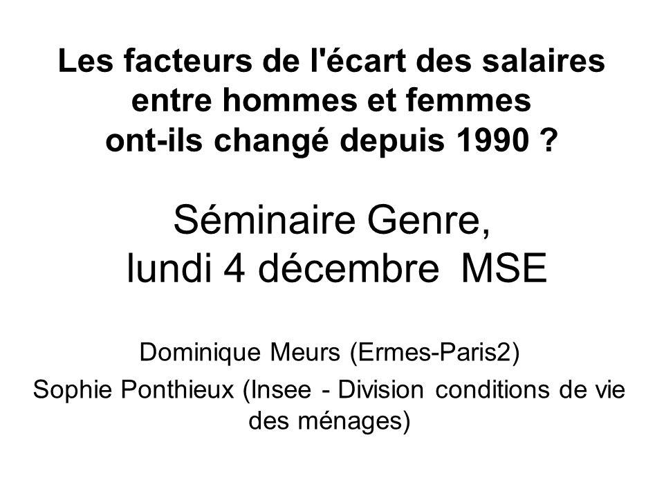 Les facteurs de l écart des salaires entre hommes et femmes ont-ils changé depuis 1990 Séminaire Genre, lundi 4 décembre MSE