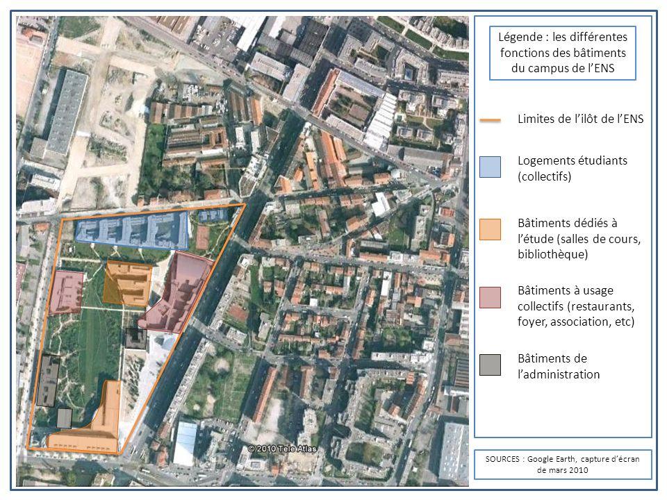 Légende : les différentes fonctions des bâtiments du campus de l'ENS