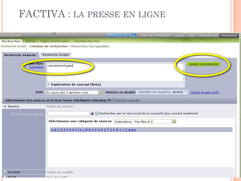 FACTIVA : la presse en ligne