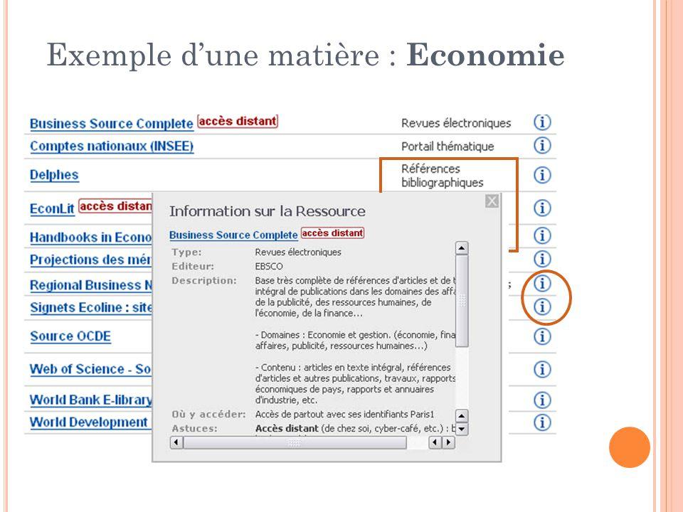 Exemple d'une matière : Economie