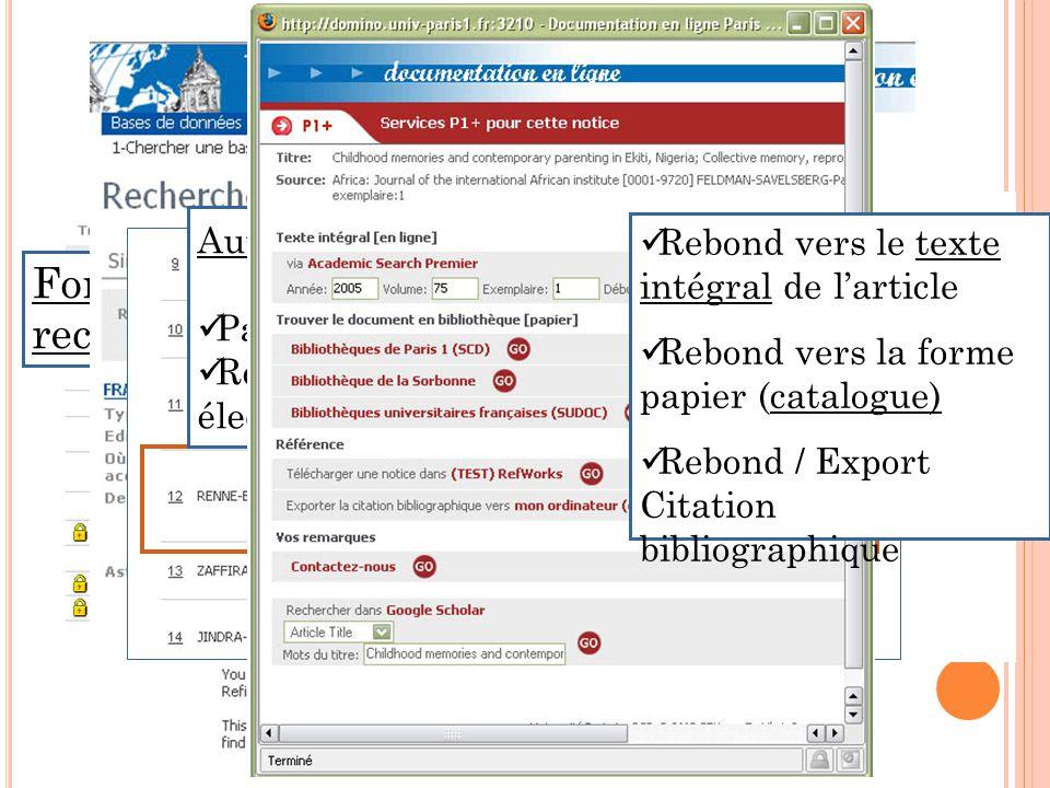 Fonctions de moteur de recherche