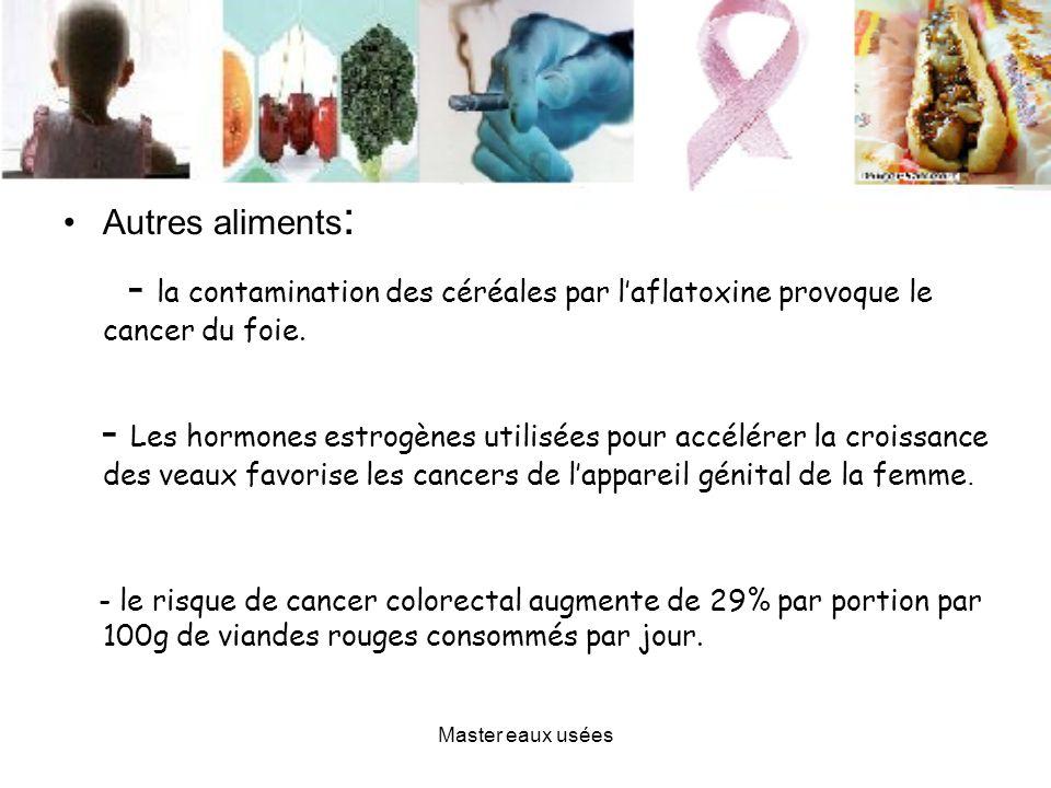 Autres aliments:- la contamination des céréales par l'aflatoxine provoque le cancer du foie.