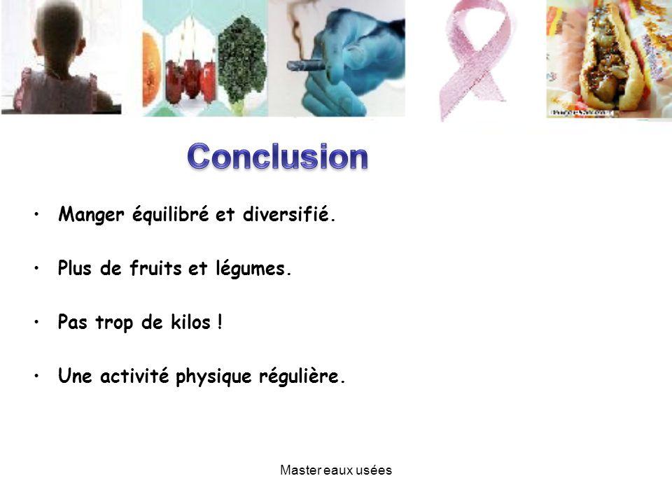 Conclusion Manger équilibré et diversifié. Plus de fruits et légumes.