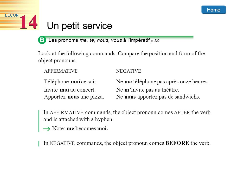 B Les pronoms me, te, nous, vous à l'impératif p. 220. Look at the following commands. Compare the position and form of the object pronouns.